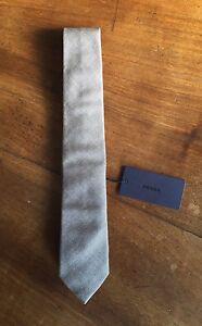 Cravatta uomo PRADA MILANO grigia beige cotone nuova cartellino