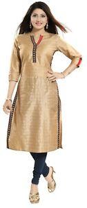 Women-Indian-3-4-Sleeves-Kurti-Tunic-Kurta-Silk-Gold-Lace-Shirt-Dress-MM210