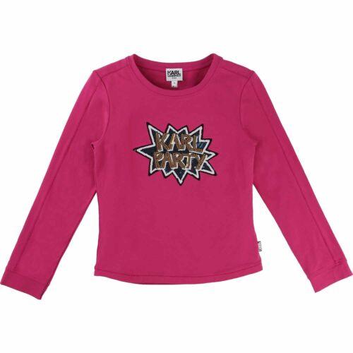 KARL LAGERFELD Longsleeve Pailletten pink Stern Party Grössen 116-172 6-16J