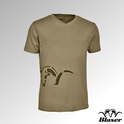 118011-006//613 Blaser T-Shirt V Neck Logo Sand