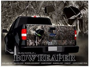 Bow Hunting Camo Grim Reaper Truck Tailgate Vinyl Graphic Decal - Bow hunting decals for trucks