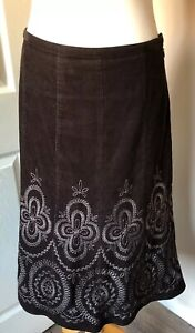 Laura-Ashley-Floral-Embroidered-Brown-NeedleCord-Lined-Maxi-Skirt-Size-10