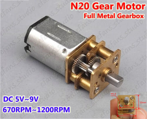 DC 5V~9V 670RPM~1200RPM Mini N20 Gearbox Motor Micro Speed Reduction Gear Motor