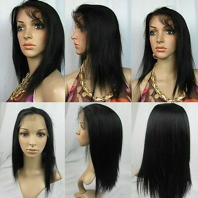 large medium small cap full lace wig 100% remy Indian human hair silky straight