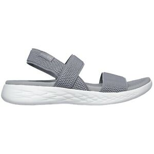 Details about LADIES SKECHERS ON THE GO 600 FLAWLESS GREYWHITE STRAP MULE SANDALS 15312GYW