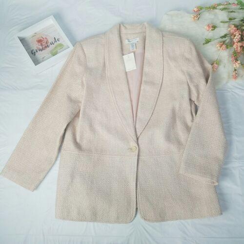 Womens Creek Coldwater New Light Large Tweed Jacket Silkeblend Pink Blazer Størrelse qtIwrdxt