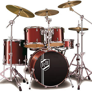 Custom bass drum sticker personalised initials shield for Yamaha bass drum decal