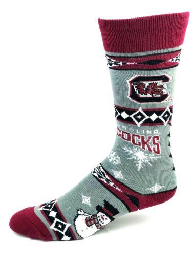 South Carolina Gamecocks For Bare Feet Gray /& Maroon Holiday Snowman Crew Socks