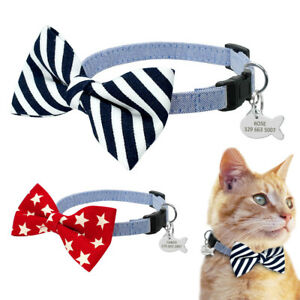Star-Bow-Tie-Dog-Cat-Kitten-Collar-Personalized-Disc-Tag-Engraved-Dog-Gromming