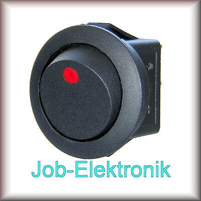 Wippschalter 1-polig schwarz beleuchtet LED rot 12V / 16A Schalter Kippschalter