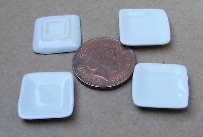 1:12 Scala 4 Bianco Ceramica Piatti 1.6cm Quadrato Tumdee Accessorio Casa Delle
