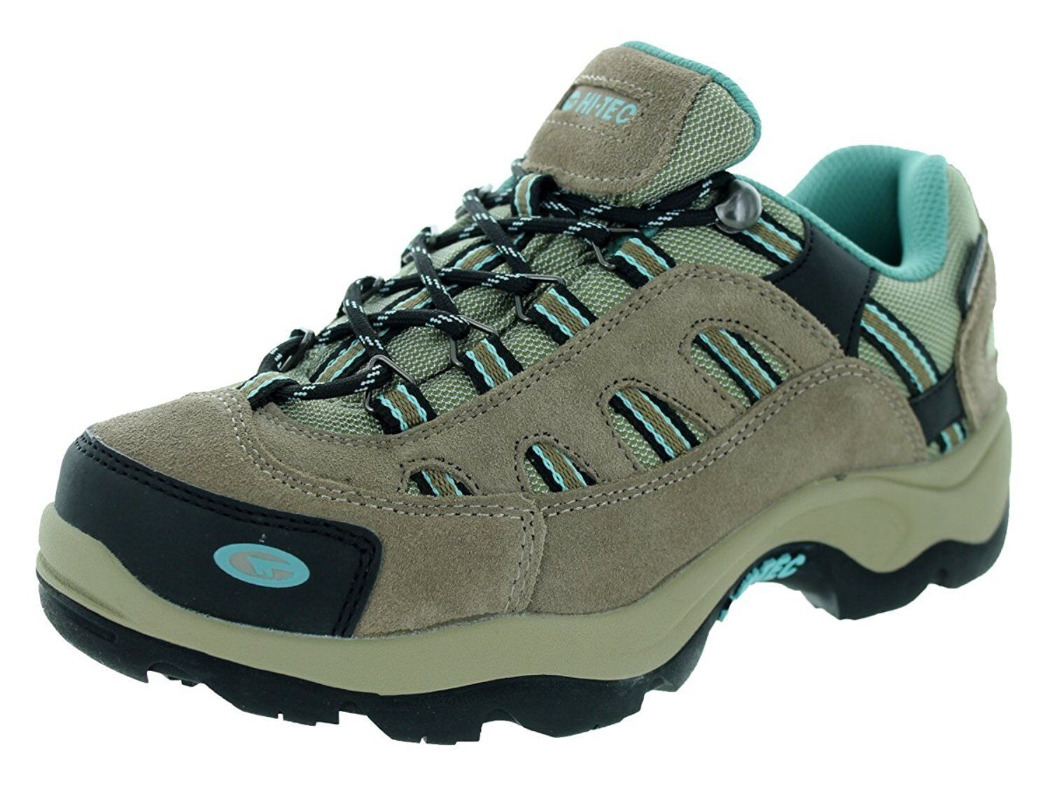NEW Hi-Tec Womens Taupe/Dusty Mint Leather Bandera Low WP Hiking Shoes Size 8