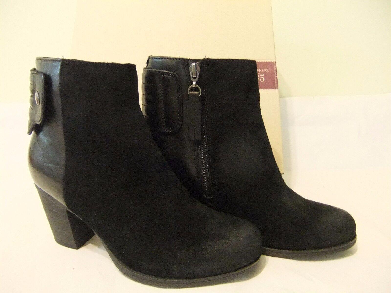 Clarks Palma Rylie Negro Negro Negro de cuero de gamuza tobillo bota talla 8 EU 39 Nuevo En Caja  150  promociones emocionantes