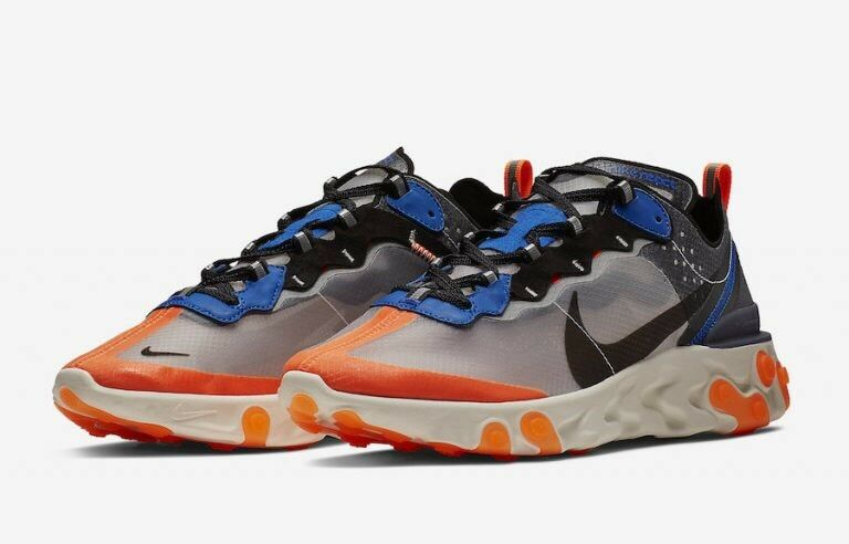 Nike React Element 87 Thunder Blue Total Orange Uomo 9.5 AQ1090-004 Undercover
