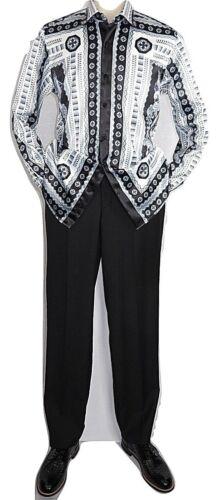 Men Satin Silky Shirt Oscar Banks Turkey Singer Stage Performer 6423 white black