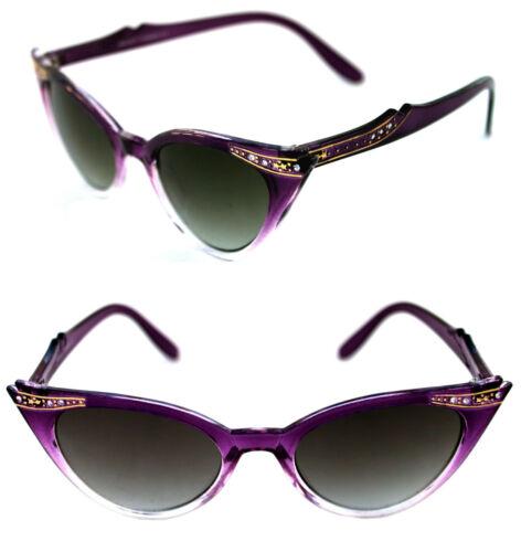 Cat Eye Sonnenbrille lila transparent Rockabilly 309