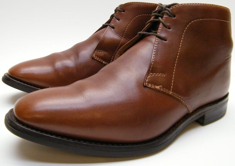 Uomo LOAKE BROWN LEATHER PLAIN TOE LACE UP ANKLE DRESS BOOTS Scarpe SZ 10 ENGLAND