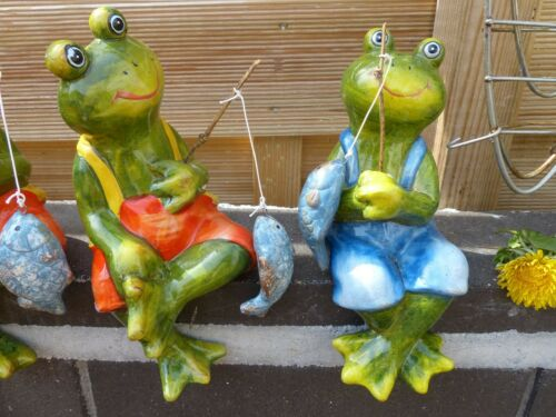 4x Schicke Angler-Frösche 4er Set Keramik-Figur Deko Frühling Garten Terrasse