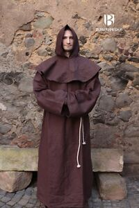 Medieval-Monk-039-s-Robe-Francis-Cowl-Larp-Brown-from-Burgschneider