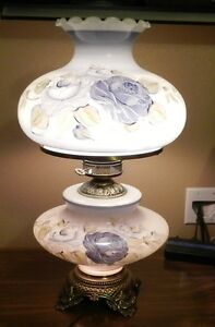 Antique Style Brass Base Table Lamp With Glass Chimney And Floral Glass Shades Ebay