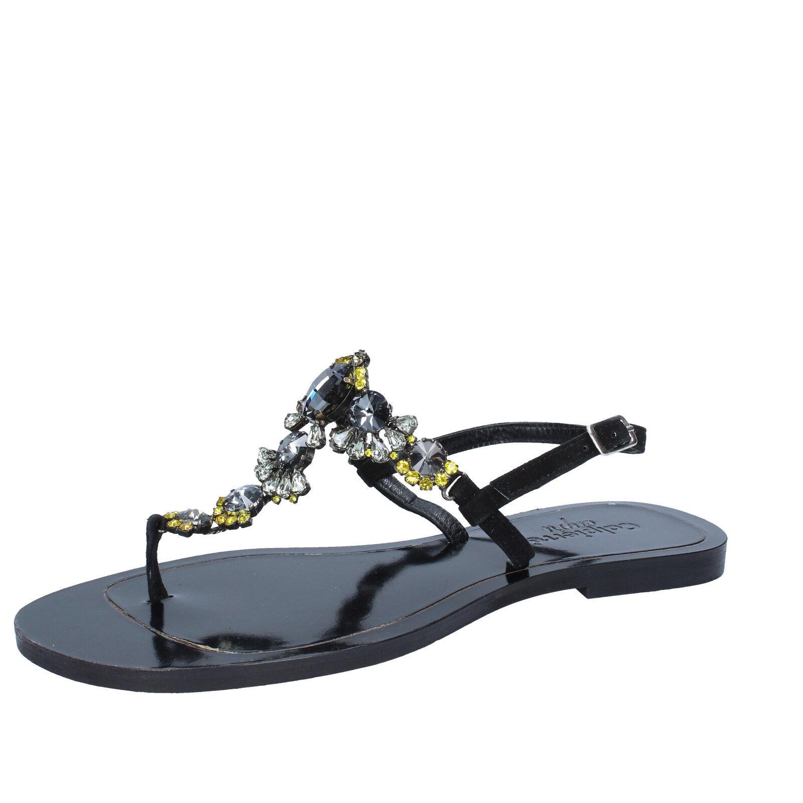 Scarpe donna CALPIERRE 36 EU sandali nero camoscio BZ879-B