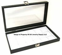 Wholesale Lot Of 6 Glass Top White 18 Space Display Cases Jewelry Pocket Watch