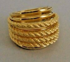 """Mint Judith Ripka  Size """"7"""" Yellow Gold Clad Rope Band Ring ITALY"""