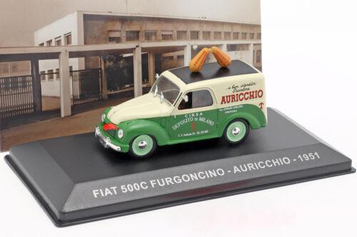 Fiat 500c furgonetas auricchio año de construcción 1951 crema blanco//verde 1:43 Altaya