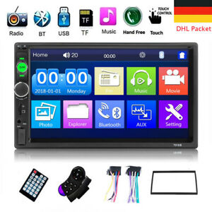 HD-7-034-Doppel-2-DIN-Autoradio-Bluetooth-Car-Stereo-Touch-MP3-Player-USB-Rahmen