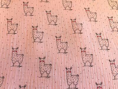MINT Printed MUSLIN Double Gauze Cotton Fabric Cloth LAZY LAMA