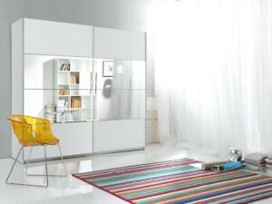 Armadio Ante Scorrevoli 180.Armadio Due Ante Scorrevoli Steven 180 Cm Bianco Con Inserto Centrale A Specchio Ebay