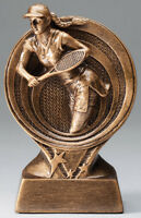 Tennis Trophy, Design, Approx. 6 Tall, With Engraving, Antique Gold, Female