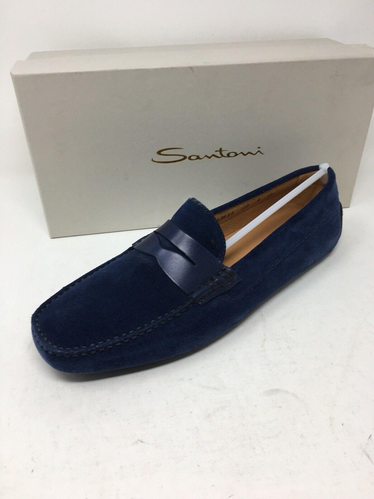 700 nouveau Santoni Pour des hommes bleu chaussures Suede Taille 11 US 10 UK 44 EU