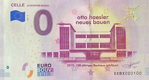 BILLET-0-EURO-CELLE-OTTO-HAESLER-NEUES-BAUEN-ALLEMAGNE-2019-NUMERO-100