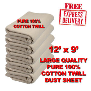 LARGE-12ft-x-9ft-PROFESSIONAL-QUALITY-100-COTTON-TWILL-DUST-SHEETS-24HR-DEL
