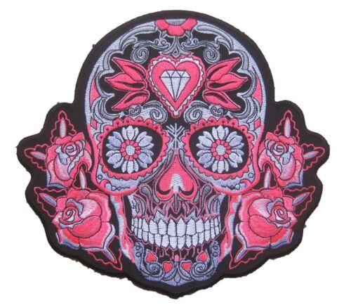 """Größe Large Neon Pink Tribal Sugar Skull Rockabilly Aufnäher Aufbügler 9.5/"""""""