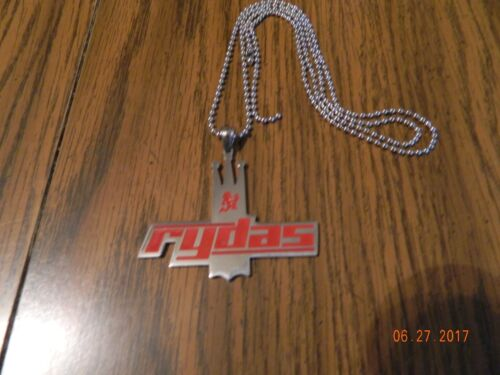 RYDAS Stainless Steel Pendant w// Red enamel design//30 inch ball chain MIP