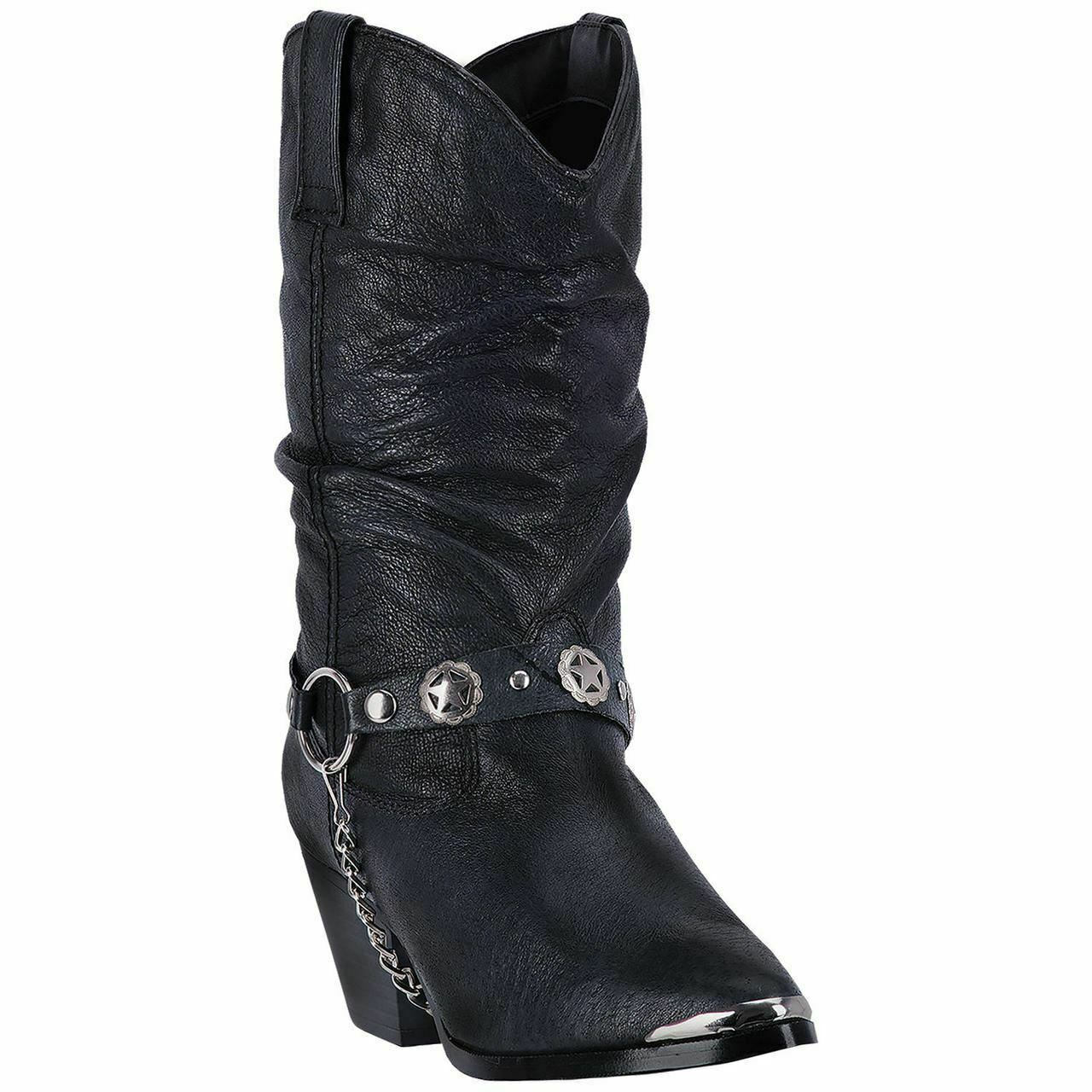 Dingo Donna Cowboy Del West Stivali in pelle di 522 Nero