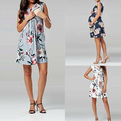 Iusun Womens Maternity Boho Mini Dress Polka Dot Sleeveless Sundress Nursing Baby Breastfeeding Pregnants for Summer Daily Vacation Holiday