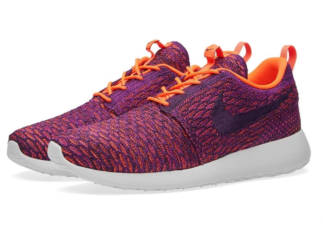 New Nike Roshe One Flyknit Trainers Shoes Sneakers, Womens Ladies Girls - Purple