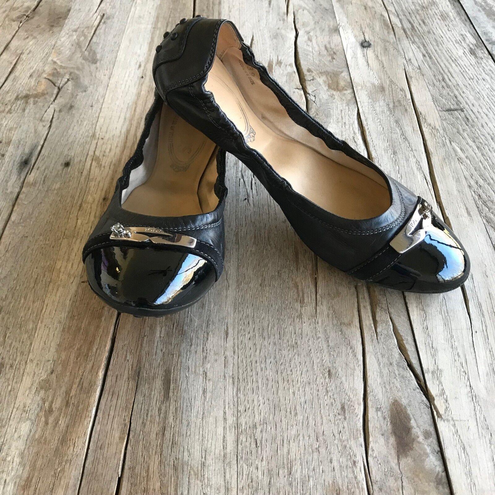 Tod's Damenss ballet flats, schwarz, patent silver/rhinestone accent , patent schwarz, toe, 39/US 9 9f5e50