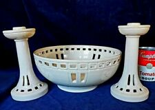 Newcomb College Pottery Console Bowl & Candlestick Pair by J Witherspoon 1920s