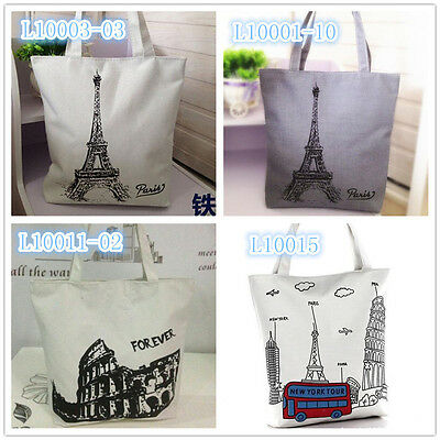 Paris Eiffel Tower Women Tote Bag Shoulder Bag Handbag Canvas Shopping Bag