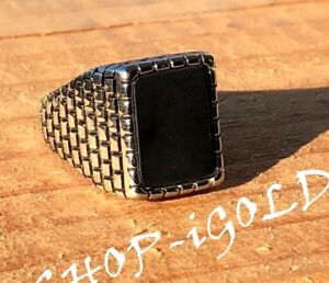 Men-039-s-Vintage-Black-Square-Black-Onyx-Silver-Rings-Stainless-Steel-Retro