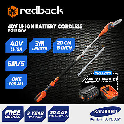 Redback 40V Cordless Long Reach Pole Chainsaw With 2Ah Battery(Li-Ion),Charger