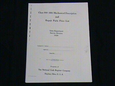 "ANTIQUE NATIONAL CASH REGISTER /""REPAIR MANUAL/"" CLASS 400//800 NCR"
