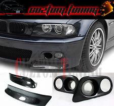 CSL STYLE CARBON FIBER BUMPER LIP SPLITTER+FOG LIGHT COVER FOR 01-06 BMW E46 M3