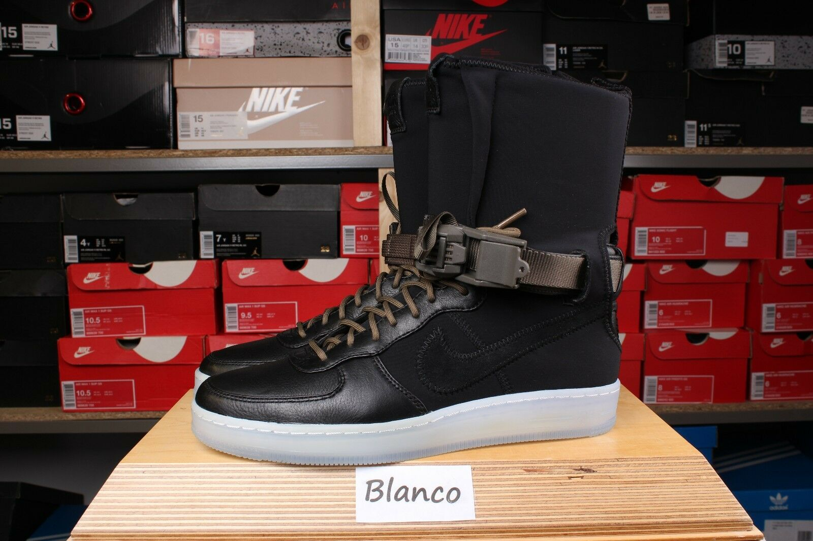 Nike Air Force 1 HI SP Acronym Black Olive US 7 - 9 Red Downtown 649941-003