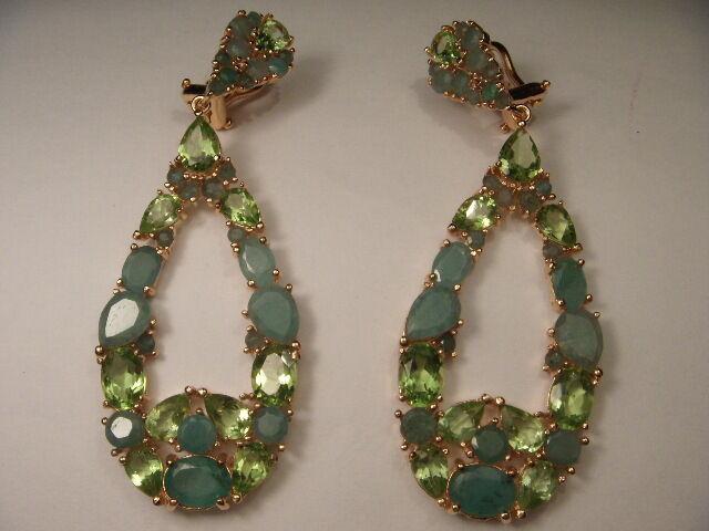 Splendido 14K oro Giallo Giallo Giallo Vermiglio argentoo Peridoto Smeraldo Design be6e1b