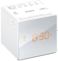 Sony Am Fm Cube Alarm Clock Radio White Brightness Auto Dst Time Gradual Wake